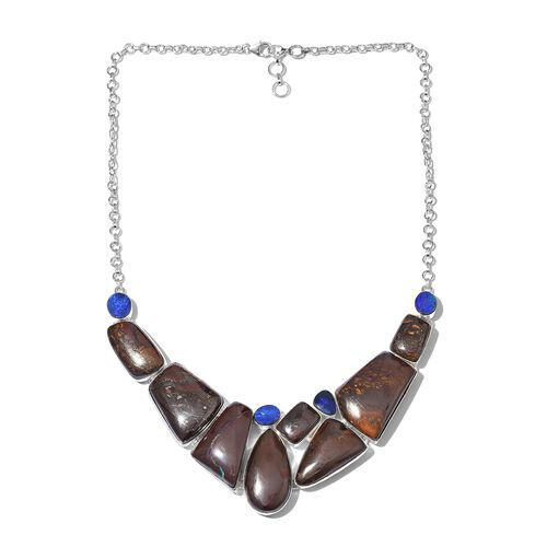 Boulder Opal Rock and Opal Double Necklace (Size 18 with 1 inch Extender) in Sterling Silver 216.000 Ct.