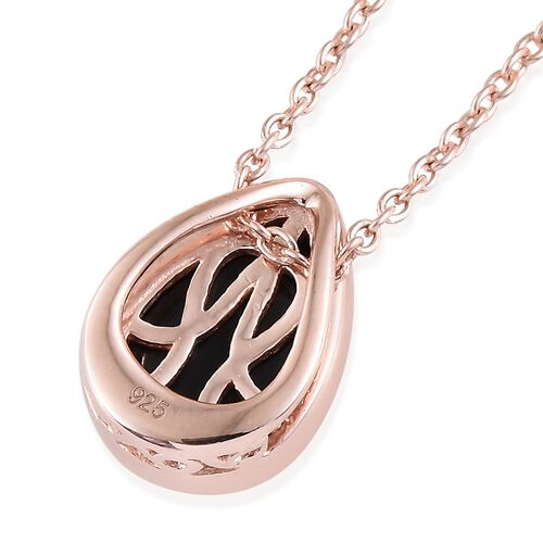 Boi Ploi Black Spinel (Pear) Solitaire Pendant With Chain in Rose Gold Overlay Sterling Silver 3.000 Ct.