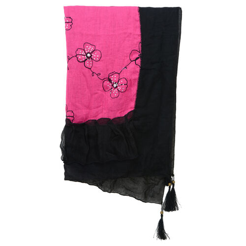 Floral Pattern Black and Pink Colour Scarf with Resin Crystal (Size 180x70 Cm)