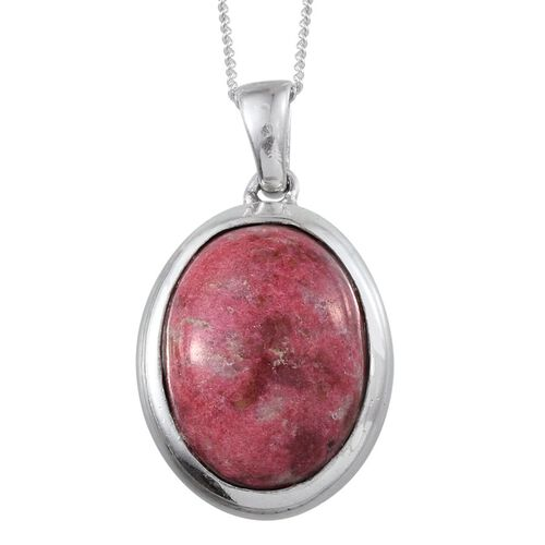 Norwegian Thulite (Ovl) Pendant With Chain in Platinum Overlay Sterling Silver 10.500 Ct.