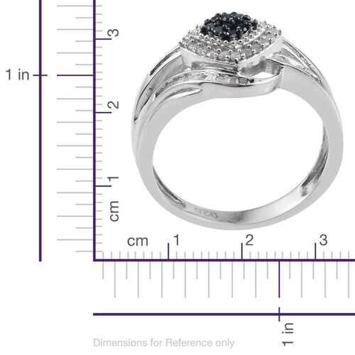 Blue Diamond, White Diamond 0.50 Carat Ring in Platinum Overlay Sterling Silver.