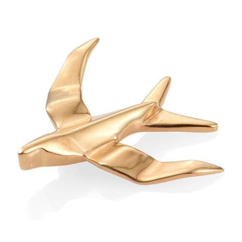 Origami Seagull Silver Pendant in Gold Overlay