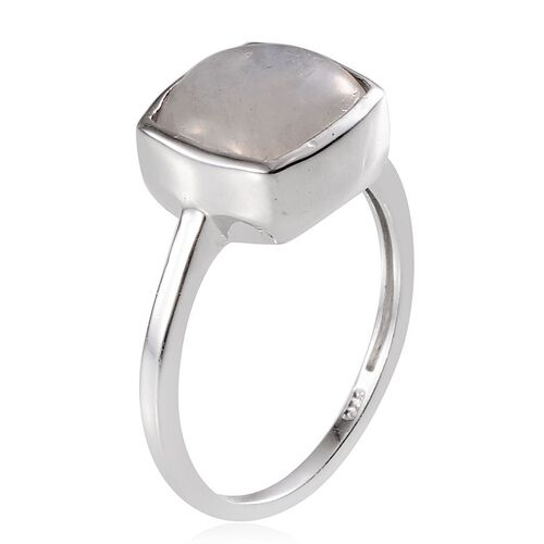 Rainbow Moonstone (Cush 5.25 Ct) Solitaire Ring in Platinum Overlay Sterling Silver 5.250 Ct.