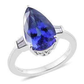 RHAPSODY 950 Platinum 5.70 Ct AAAA Tanzanite Ring with Diamond VS E-F