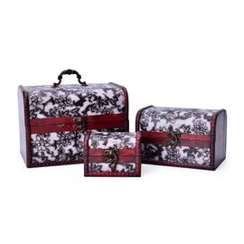 Set of 3 - Handcrafted Black and White Colour Flower Pattern Vintage Style Jewellery Box (Large 22X16X15.5 Cm), (Medium 16X11X11 Cm) and (Small 11X8X7.5 Cm)