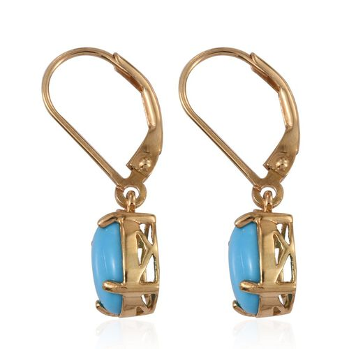 Arizona Sleeping Beauty Turquoise (Ovl) Earrings in 14K Gold Overlay Sterling Silver 2.500 Ct.