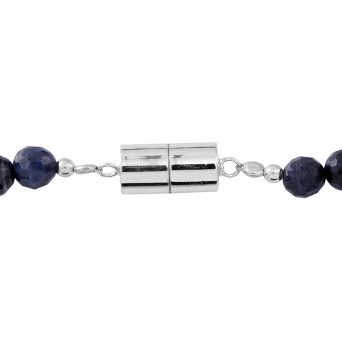 Very Rare AAA Kanchanaburi Blue Sapphire Beaded Necklace (Size 18) with Magnetic Clasp in Rhodium Plated Sterling Silver 125.000 Ct.