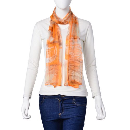 100% Mulberry Silk Orange, Brown and Multi Colour Square Pattern Scarf (Size 170x50 Cm)