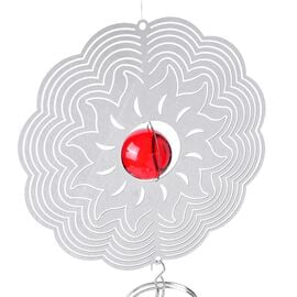 Home Decor - Hanging 3D Wind Spinner With Red and White Balls Inside (Size 34x15 Cm)