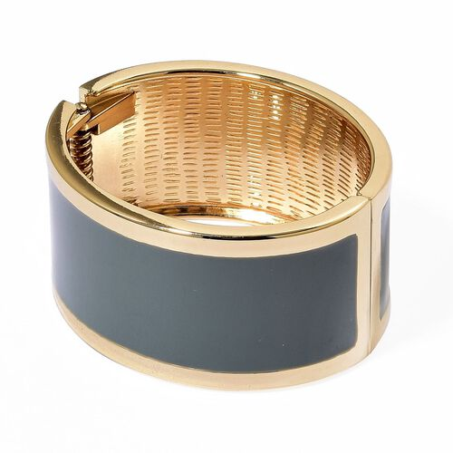Designer Inspired - AAA Simulated Diamond Grey Colour Enameled Bangle (Size 6.5) in Gold Tone
