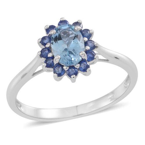 9K W Gold AA Espirito Santo Aquamarine (Ovl 0.70 Ct), Kanchanaburi Blue Sapphire Ring 1.250 Ct.