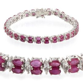 African Ruby (Ovl), White Topaz Bracelet in Platinum Overlay Sterling Silver (Size 8) 19.500 Ct.