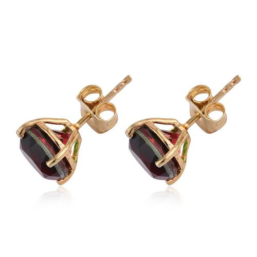 Bi-Color Tourmaline Quartz (Rnd) Stud Earrings (with Push Back) in 14K Gold Overlay Sterling Silver 4.750 Ct.