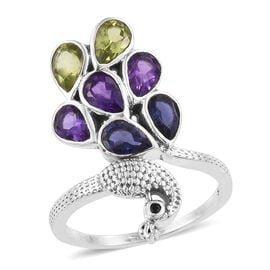 Amethyst (Pear), Hebei Peridot, Iolite and Boi Ploi Black Spinel Peacock Ring in Sterling Silver 2.490 Ct. Silver wt. 4.66 Gms.