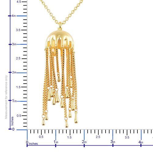 LucyQ Umbrella Pendant With Chain (Size 36) in Yellow Gold Overlay Sterling Silver 48.85 Gms.