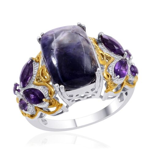 Designer Collection Utah Tiffany Stone (Cush 6.85 Ct), Amethyst Ring in 14K YG and Platinum Overlay Sterling Silver 8.025 Ct.