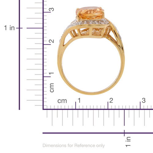Citrine (Ovl 3.50 Ct), White Topaz Ring in 14K Gold Overlay Sterling Silver 4.000 Ct.