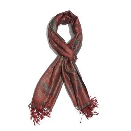 SILK MARK - 100% Superfine Silk Green and Multi Colour Paisley and Leaves Pattern Red Colour Jacquard Jamawar Scarf with Fringes (Size 180x70 Cm) (Weight 125-140 Grams)