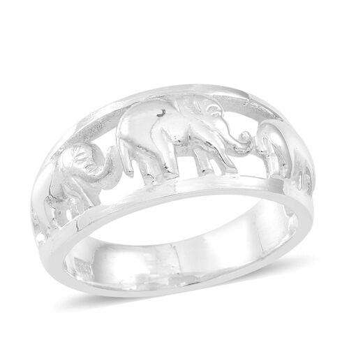 Thai Sterling Silver Elephant Band Ring, Silver wt 6.66 Gms.