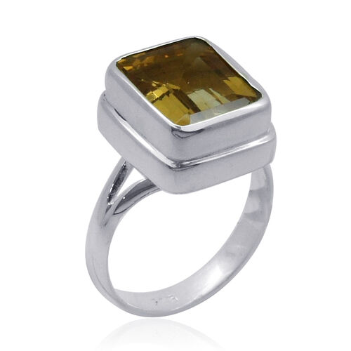 Royal Bali Collection Citrine (Cush) Solitaire Ring in Sterling Silver 5.490 Ct.