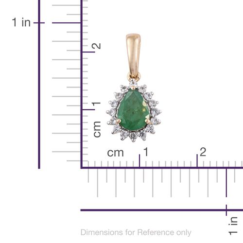 9K Yellow Gold AAA Kagem Zambian Emerald (Pear 1.00 Ct), Natural Cambodian Zircon Pendant 2.000 Ct.