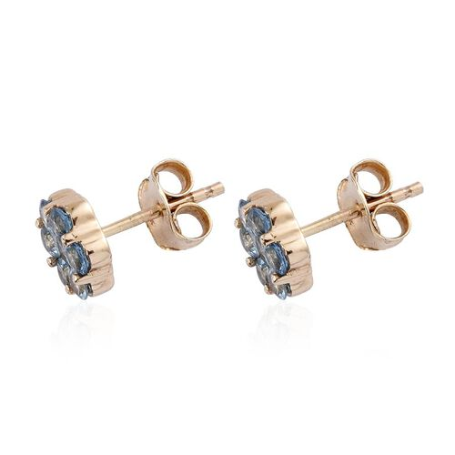 9K Y Gold AAA Santa Maria Aquamarine (Rnd) Stud Earrings (with Push Back) 0.850 Ct.