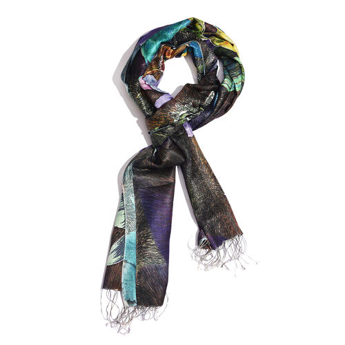100% Katan Silk Yellow, Chocolate and Multi Colour Digital Print Floral and Leaves Pattern Scarf with Tassels (Size 200X70 Cm)