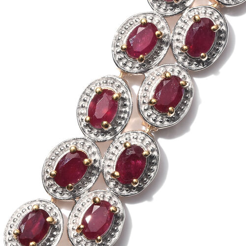 African Ruby (Ovl) Necklace (Size 18) in 14K Gold Overlay Sterling Silver 22.750 Ct.