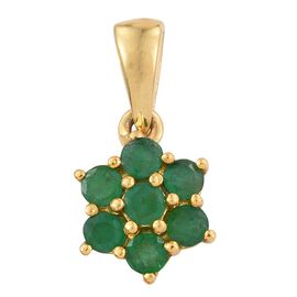 Zambian Emerald 0.75 Ct Silver 7 Stone Floral Pendant in Gold Overlay