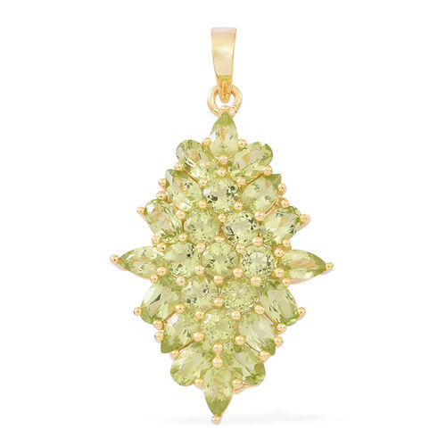 Hebei Peridot (Ovl) Pendant in 14K Gold Overlay Sterling Silver 5.500 Ct. Silver wt 3.60 Gms.