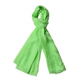 Pantone Collection- 100% Mulberry Silk Paradise Green Colour Scarf (Size 180X100 Cm)