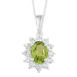 Super Auction- One Time Deal- Hebei Peridot (Ovl 1.20 Ct), Natural Cambodian Zircon Pendant with Chain in Sterling Silver 2.000 Ct.