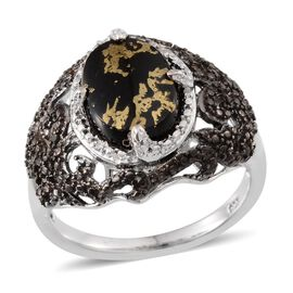 Goldenite (Ovl 3.00 Ct), White and Black Diamond Ring in Platinum Overlay Sterling Silver 3.020 Ct.