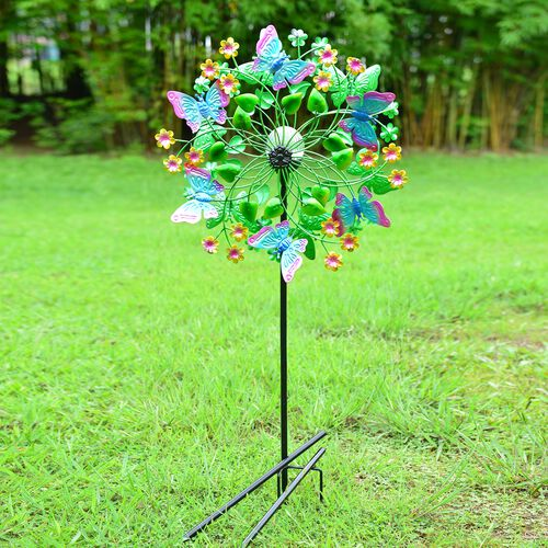 Hand Painted Multi Colour Butterfly and Flower Wind Spinner with LED Solar Ball (Size 48.2x20.3x177.8 Cm)