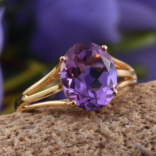 Lavender Alexite (Ovl) Solitaire Ring in 14K Gold Overlay Sterling Silver 3.250 Ct.