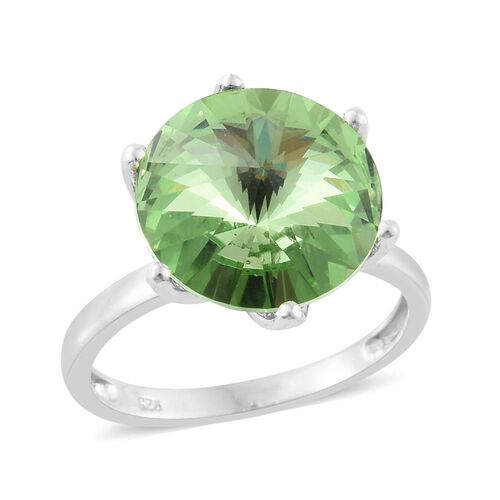 J Francis Crystal from Swarovski - Peridot Colour Crystal (Rnd) Solitaire Ring in Platinum Overlay Sterling Silver