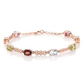 Amethyst (Ovl), Mozambique Garnet, Citrine, Hebei Peridot and Sky Blue Topaz Bracelet (Size 7.5 with Extender) in Rose Gold Overlay Sterling Silver 6.000 Ct.