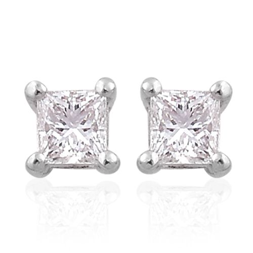 ILIANA 18K White Gold 0.25 Carat Princess Cut Diamond Solitaire Stud Earrings (with Screw Back),SI G-H, IGI Certified