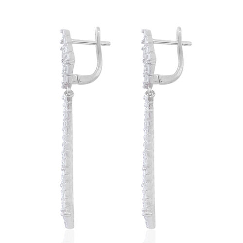 ELANZA AAA Simulated White Diamond (Bgt) Earrings (with Clasp) in Rhodium Plated Sterling Silver, Silver wt 13.74 Gms. Number of Simulated White Diamond 246