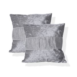 Set of 2 - Metallic Grey Colour Crush Velvet Cushion Cover (Size 42x42 Cm)
