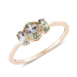 9K Y Gold Natural Green Tanzanite (Ovl) 3 Stone Ring 1.000 Ct.