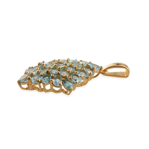 Paraibe Apatite (Ovl) Cluster Pendant in 14K Gold Overlay Sterling Silver 3.750 Ct.