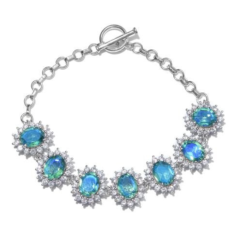 Peacock Quartz (Ovl), Natural Cambodian Zircon Bracelet (Size 7.5) in Platinum Overlay Sterling Silver 22.000 Ct.