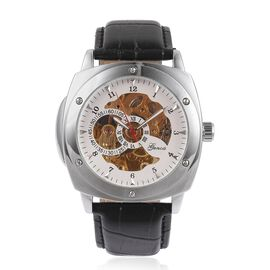 GENOA Automatic Skeleton White Dial Water Resistant Watch in Silver Tone with Black Leather Strap