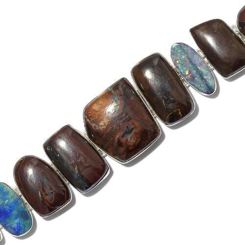 Australian Boulder Opal Rock and Opal Double Bracelet (Size 8) in Sterling Silver 153.500 Ct.
