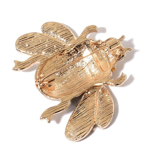 Set of 2 - AAA Multi Colour Austrian Crystal Multi Colour Enameled Bee and Moth Brooch or Pendant with Chain (Size 20) in Yellow Gold Tone