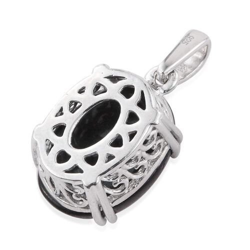 Black Jade (Ovl) Pendant in Platinum Overlay Sterling Silver 10.750 Ct.