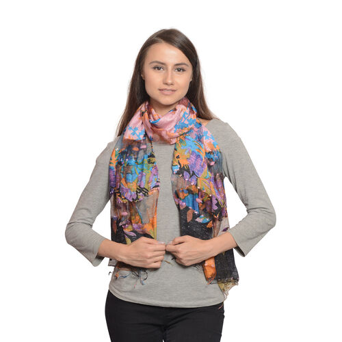65% Silk Blue, Pink and Multi Colour Artistic Floral Pattern Scarf with Fringes (Size 180x50 Cm)