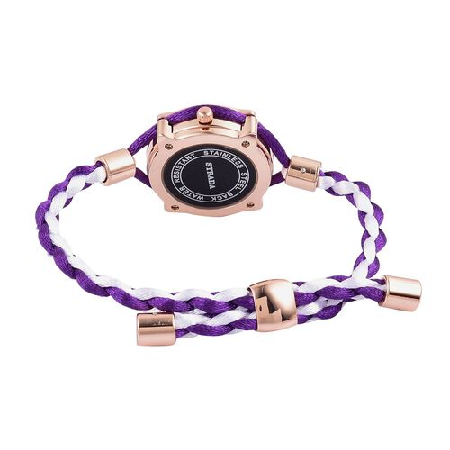 STRADA Japanese Movement Purple Dial Adjustable Bracelet Watch in Rose Gold Tone with Lace Strap
