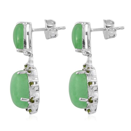 Green Jade (Ovl), Russian Diopside Earrings (with Push Back) in Platinum Overlay Sterling Silver 11.250 Ct.
